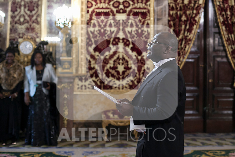Gabon Republic Ambassador Patrick Arthur Moukala during a meeting with King Felipe VI of Spain at Royal Palace in Madrid, Spain. December 16, 2015. (ALTERPHOTOS/Victor Blanco)