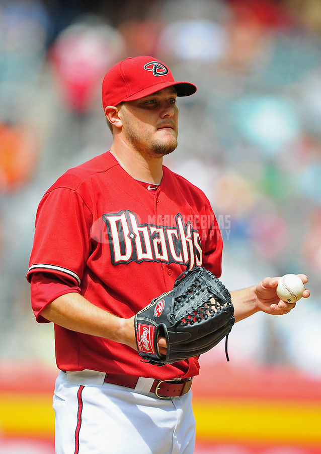 Apr. 8, 2012; Phoenix, AZ, USA; Arizona Diamondbacks pitcher Wade Miley in the fourth inning against the San Francisco Giants at Chase Field. Mandatory Credit: Mark J. Rebilas-