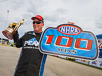Jul 9, 2017; Joliet, IL, USA; NHRA driver Dan Fletcher celebrates after winning the 100th national event of his sportsman career at the Route 66 Nationals at Route 66 Raceway. Mandatory Credit: Mark J. Rebilas-USA TODAY Sports