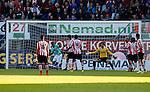 Nederland, Rotterdam, 15 mei 2014<br /> Jupiler Play-Offs<br /> Finale<br /> Sparta-FC Dordrecht<br /> Jeffrey Fortes (2e van l.) juicht nadat Matthew Steenvoorden van FC Dordrecht een doelpunt heeft gemaakt. Keeper Khalid Sinouh van Sparta is kansloos