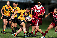 Geneva Webber of Manurewa  on the charge. Premier Women's Rugby League, Papakura Sisters v Manurewa Wahine, Prince Edward Park, Auckland, Sunday 13th August 2017. Photo: Simon Watts / www.phototek.nz