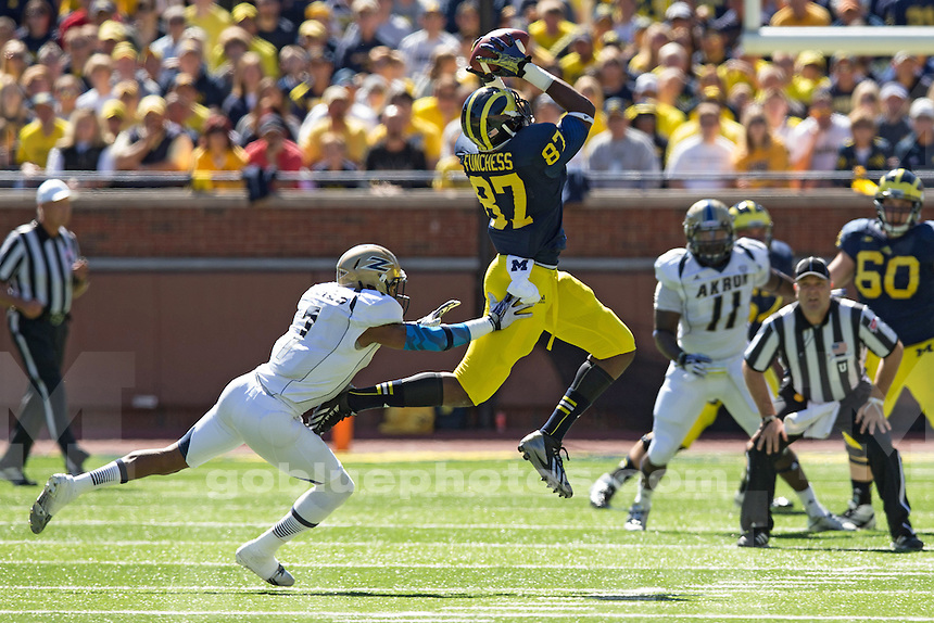 The University of Michigan football team beat Akron, 28-24, at Michigan Stadium in Ann Arbor, Mich., on September 14, 2013.
