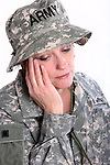 A sad USA military woman soldier