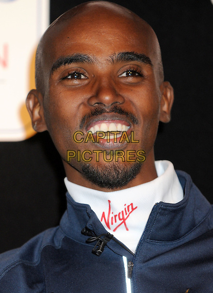 Mo Farah.The London Marathon 2013 GB Runners Press Conference at the Tower Hotel, London, England..April 18th 2013.headshot portrait blue goatee facial hair smiling .CAP/PP/BK.©Bob Kent/PP/Capital Pictures..