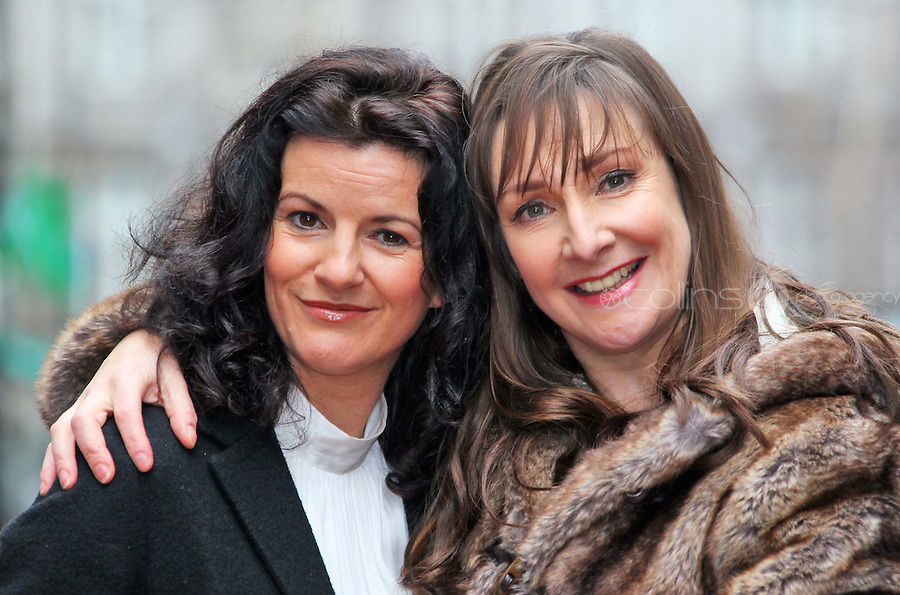 ****NO REPRODUCTION FEE PICTURE***.06/02/12 Pauline McLynn who plays Noirin,  Deirdre O'Kane who plays Jean  pictured this afternoon at the Gaiety Theatre, Dublin at the launch of details of the new Fiona Looney play, 'Greener'...The play opens on 1st May 2012...Picture Colin Keegan, Collins, Dublin. ****NO REPRODUCTION FEE PICTURE****