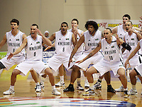 The Tall Blacks perform the haka before the match during the International basketball match between the NZ Tall Blacks and Australian Boomers at TSB Bank Arena, Wellington, New Zealand on 25 August 2009. Photo: Dave Lintott / lintottphoto.co.nz