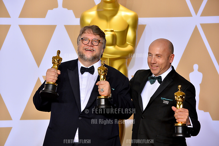 Guillermo del Toro &amp; J. Miles Dale at the 90th Academy Awards Awards at the Dolby Theartre, Hollywood, USA 04 March 2018<br /> Picture: Paul Smith/Featureflash/SilverHub 0208 004 5359 sales@silverhubmedia.com