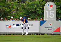 Rafa Cabrera Bello (Europe) on the 15th tee during the Singles Matches of the Eurasia Cup at Glenmarie Golf and Country Club on the Sunday 14th January 2018.<br /> Picture:  Thos Caffrey / www.golffile.ie