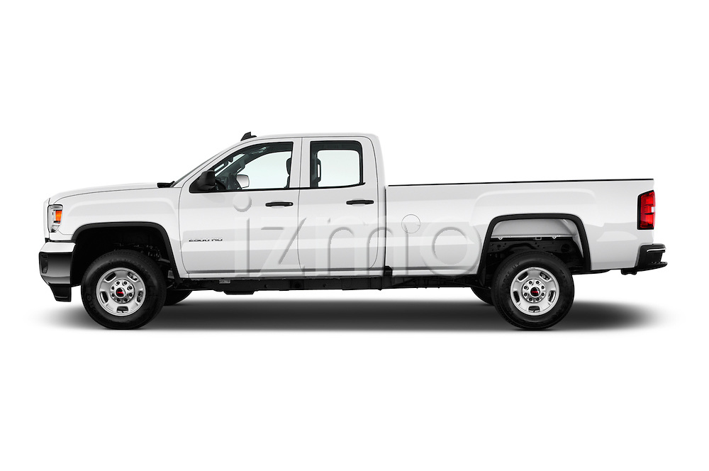 Car Driver side profile view of a 2016 GMC Sierra-2500HD 2WD-Double-Cab-Long-Box 4 Door Pick-up Side View
