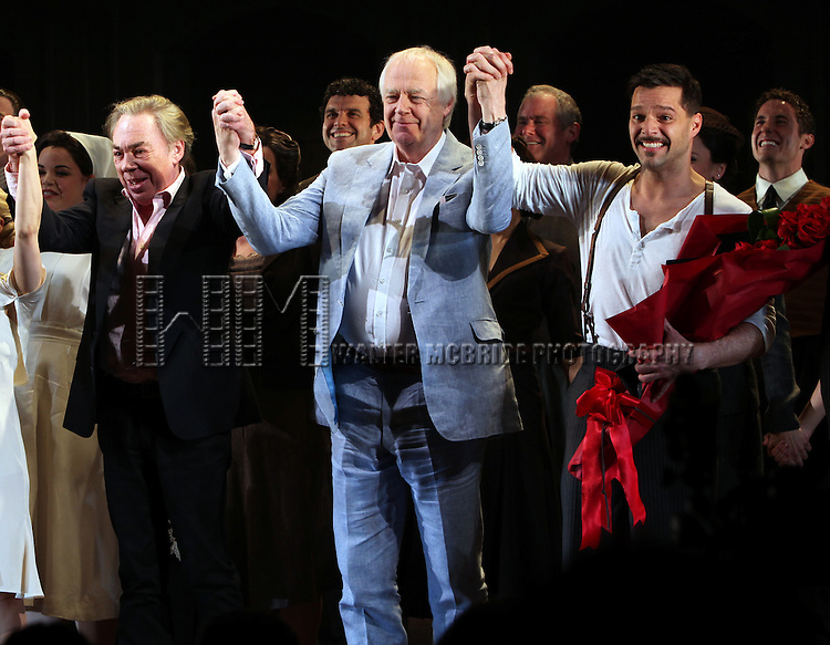 Andrew Lloyd Webber, Tim Rice & Ricky Martin with the Company.during the Broadway Opening Night Performance Curtain Call for 'EVITA' at the Marquis Theatre in New York City on 4/5/2012