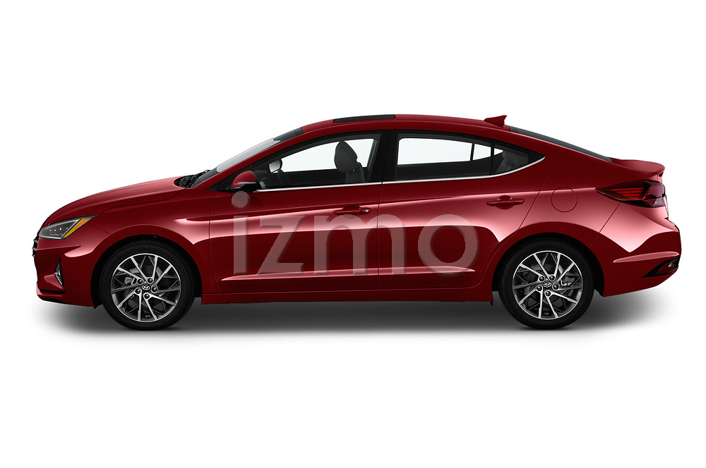 Car Driver side profile view of a 2020 Hyundai Elantra Limited 4 Door Sedan Side View