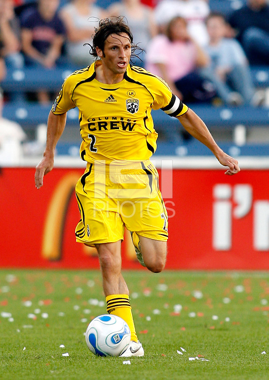 Columbus Crew defender Frankie Hejduk (2) dribbles the ball.  The Chicago Fire defeated the Columbus Crew 3-2 at Toyota Park in Bridgeview, IL on June 3, 2007.
