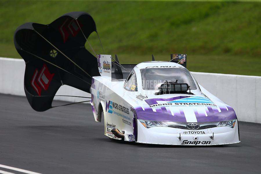 Jun 20, 2015; Bristol, TN, USA; NHRA funny car driver Tony Pedregon during qualifying for the Thunder Valley Nationals at Bristol Dragway. Mandatory Credit: Mark J. Rebilas-