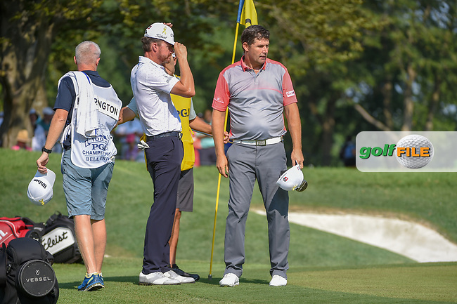 Padraig Harrington (IRL) after sining his putt on 9 during 2nd round of the 100th PGA Championship at Bellerive Country Club, St. Louis, Missouri. 8/11/2018.<br /> Picture: Golffile | Ken Murray<br /> <br /> All photo usage must carry mandatory copyright credit (© Golffile | Ken Murray)