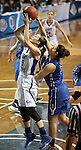 SIOUX FALLS MARCH 23:  Allison Szabo #5 from Lubbock Christian has her shot blocked from behind by Melina Kollia #34 from Bentley University during their 2016 NCAA Women's DII Elite 8 Basketball Championship semifinal Wednesday night at the Sanford Pentagon in Sioux Falls, S.D. (Photo by Dave Eggen/Inertia)