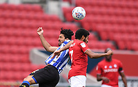 28th June 2020; Ashton Gate Stadium, Bristol, England; English Football League Championship Football, Bristol City versus Sheffield Wednesday; Korey Smith of Bristol City and Massimo Luongo of Sheffield Wednesday compete in the air