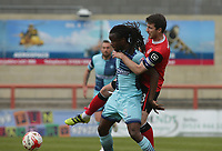 Marcus Bean (L) of Wycombe Wanderers and Peter Murphy (Captain) (R) of Morecambe challenge for the ball during the Sky Bet League 2 match between Morecambe and Wycombe Wanderers at the Globe Arena, Morecambe, England on 29 April 2017. Photo by Stephen Gaunt / PRiME Media Images.