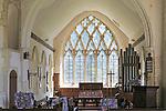 Large clear glass east window, Parish church of Saint Peter, Monk Soham, Suffolk, England, UK