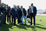 "Palestinian President Mahmoud Abbas visits the stadium of Chilean football club ""Palestino"", in Santiago, on May 10, 2018. Photo by Thaer Ganaim"
