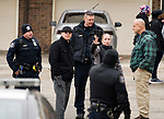WATERBURY, CT-011518JS08--Waterbury police investigate a shooting that occurred Tuesday at  the Mallview Condominium on Mark Lane in Waterbury. <br />   Jim Shannon Republican-American