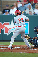 Hunter Oliver (28) of the Greeneville Reds at bat against the Pulaski Yankees at Calfee Park on June 23, 2018 in Pulaski, Virginia. The Reds defeated the Yankees 6-5.  (Brian Westerholt/Four Seam Images)