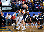BROOKINGS, SD - FEBRUARY 4:  Tevin King #2 from South Dakota State University drives past Jalen Bradley #10 from Oral Roberts during their game Saturday afternoon at Frost Arena in Brookings.(Photo by Dave Eggen/Inertia)