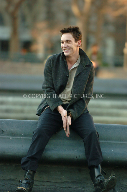 "WWW.ACEPIXS.COM . . . . . ....February 17 2006, New York City....Actor Jonathan Rhys-Meyers on the set of ""August Rush"" in Washington Square Park in Manhattan. Rhys-Meyers stars with Kerri Russell and Robin Williams in this fairy tale drama in which an orphan uses his musical talents to find his parents. Director Kristin Sheridan is the daughter of legendary dirctor Jim Sheridan.....Please byline: AJ Sokalner - ACEPIXS.COM.... *** ***..Ace Pictures, Inc:  ..Philip Vaughan (212) 243-8787 or (646) 769 0430..e-mail: info@acepixs.com..web: http://www.acepixs.com"
