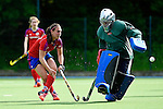 Mannheim, Germany, April 26: During the Oberliga Damen (Baden-Wuerttemberg) match between Mannheimer HC 2 (red) and HC Heidelberg (white) on April 26, 2015 at Mannheimer HC in Mannheim, Germany. Final score 4-1 . (Photo by Dirk Markgraf / www.265-images.com) *** Local caption ***