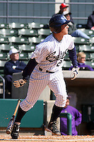 Casey Stevenson of the University of California at Irvine at the plate in a game against James Madison University at the Baseball at the Beach Tournament held at BB&T Coastal Field in Myrtle Beach, SC on February 28, 2010.