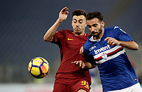 Calcio, Serie A: AS Roma - Sampdoria, Roma, stadio Olimpico, 28 gennaio 2018. <br /> Roma's Stephan El Shaarawy (l) in action with Gianmarco Ferrari (r) during the Italian Serie A football match between AS Roma and Sampdoria at Rome's Olympic stadium, January 28, 2018.<br /> UPDATE IMAGES PRESS/Isabella Bonotto