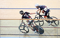 Aaron Gate, right, at the BikeNZ Elite & U19 Track National Championships, Avantidrome, Home of Cycling, Cambridge, New Zealand, Sunday, March 16, 2014. Credit: Dianne Manson