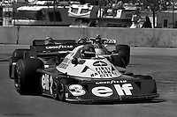 LONG BEACH, CA: Ronnie Peterson in the Tyrrell P34 5/Ford Cosworth DFV drives ahead of Hans Stuck and James Hunt during the United States Grand Prix West on April 3, 1977, on the temporary street circuit in Long Beach, California.