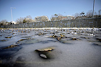 Pictured: A frozen over lake in Salonica, northern Greece. Tuesday 08 January 2018<br /> Re: Heavy snowfall has affected most parts of Greece.