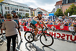 AG2R La Mondiale arrive at sign on before Stage 4 of the Deutschland Tour 2019, running 159.5km from Eisenach to Erfurt, Germany. 1st September 2019.<br /> Picture: ASO/Marcel Hilger | Cyclefile<br /> All photos usage must carry mandatory copyright credit (© Cyclefile | ASO/Marcel Hilger)