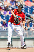 Texas Tech Red Raiders pitcher Steven Gingery (47) winds up to deliver a pitch against the TCU Horned Frogs in Game 3 of the NCAA College World Series on June 19, 2016 at TD Ameritrade Park in Omaha, Nebraska. TCU defeated Texas Tech 5-3. (Andrew Woolley/Four Seam Images)