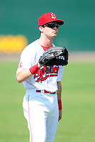 Lowell Spinners outfielder Andrew Benintendi (17) prior to a game versus the Tri-City ValleyCats at Lelacheur Park on August 16, 2015 in Lowell Massacusetts. (Ken Babbitt/Four Seam Images)