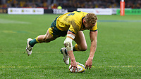 Reece Hodge of the Wallabies scores a try during the Rugby Championship match between Australia and New Zealand at Optus Stadium in Perth, Australia on August 10, 2019 . Photo: Gary Day / Frozen In Motion