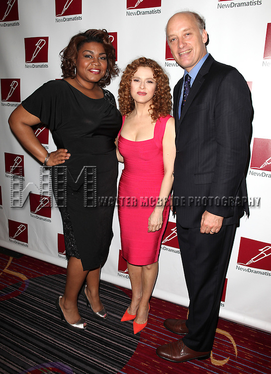 Da'Vine Joy Randolph, Bernadette Peters & Frank Wood.attending the New Dramatists 63rd Annual Spring Luncheon to Honor Bernadette Peters at the Marriott Marquis Hotel in New York City on 5/24/2012 © Walter McBride/WM Photography .