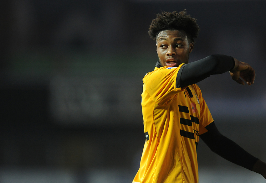 Newport County's Antoine Semenyo<br /> <br /> Photographer Kevin Barnes/CameraSport<br /> <br /> The EFL Sky Bet League Two - Newport County v Colchester United - Saturday 17th November 2018 - Rodney Parade - Newport<br /> <br /> World Copyright © 2018 CameraSport. All rights reserved. 43 Linden Ave. Countesthorpe. Leicester. England. LE8 5PG - Tel: +44 (0) 116 277 4147 - admin@camerasport.com - www.camerasport.com