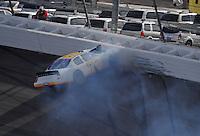 Mar 1, 2008; Las Vegas, NV, USA; Nascar Nationwide Series driver Brian Keselowski crashes during the Sams Town 300 at the Las Vegas Motor Speedway. Mandatory Credit: Mark J. Rebilas-US PRESSWIRE