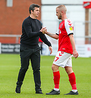 Fleetwood Town manager Joey Barton encourages Paddy Madden after the final whistle <br /> <br /> Photographer Alex Dodd/CameraSport<br /> <br /> The EFL Sky Bet League One - Fleetwood Town v Accrington Stanley - Saturday 15th September 2018  - Highbury Stadium - Fleetwood<br /> <br /> World Copyright &copy; 2018 CameraSport. All rights reserved. 43 Linden Ave. Countesthorpe. Leicester. England. LE8 5PG - Tel: +44 (0) 116 277 4147 - admin@camerasport.com - www.camerasport.com
