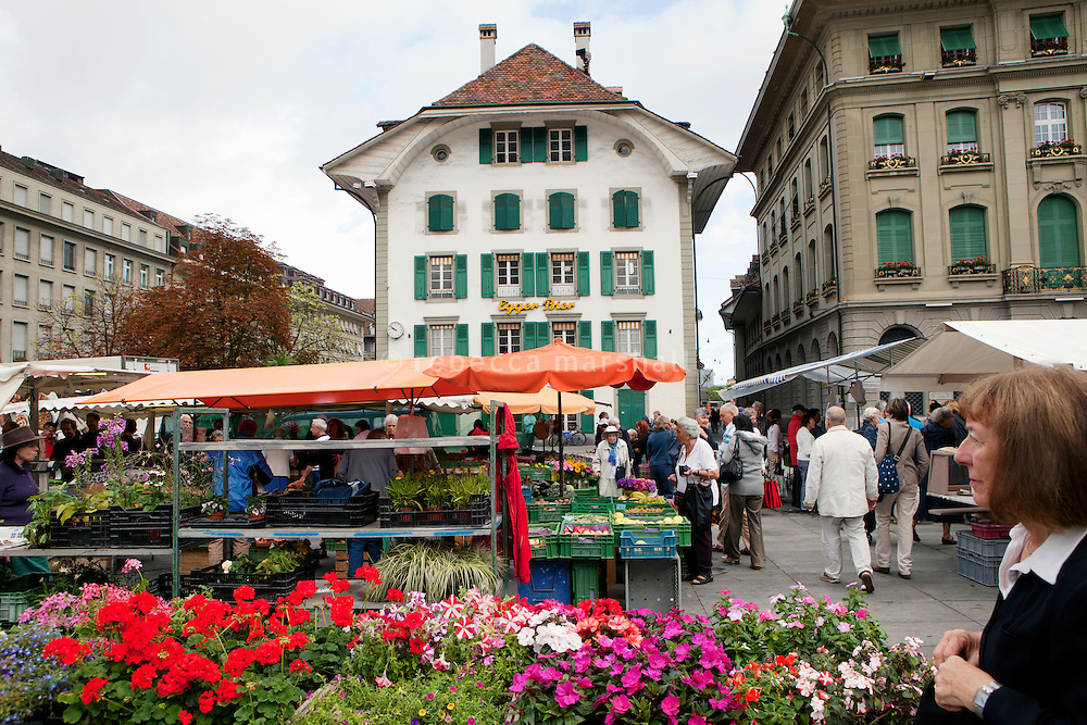Saturday market in Bundeshausplatz, Bern, Switzerland, 27 August 2011