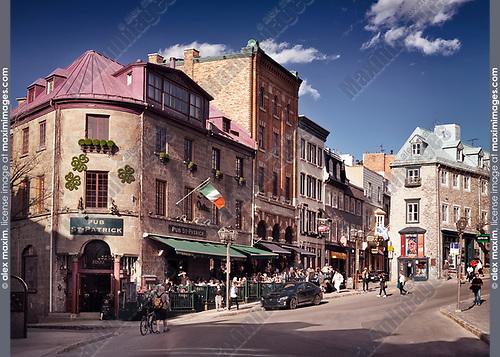 Pub St-Patrick, Saint Patrick pub historic building at Rue Saint-Jean street in old Quebec City, Quebec, Canada. Ville de Québec.