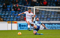 Josh Lelan of Crawley Town & Sam Wood of Wycombe Wanderers during the Sky Bet League 2 match between Wycombe Wanderers and Crawley Town at Adams Park, High Wycombe, England on 25 February 2017. Photo by Andy Rowland / PRiME Media Images.