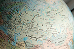 Eastern Europe and Asia map on a globe focused on Russia