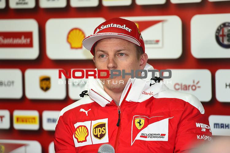 Formel 1 Testfahrten 2016 in Barcelona<br /> Kimi Raikkonen (FIN#7), Scuderia Ferrari stellt sich den Fragen der Journalisten im Ferrari Motorhome<br /> <br /> <br /> Foto &copy; nordphoto /  Bratic