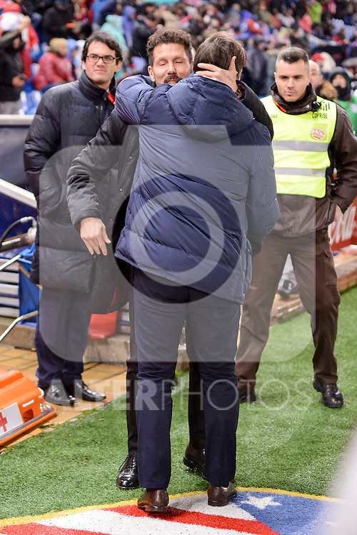 Atletico de Madrid's coach Diego Pablo Simeone and Celta de Vigo's coach Eduardo Berizzo during La Liga match between Atletico de Madrid and Celta de Vigol at Vicente Calderon Stadium in Madrid, Spain. December 03, 2016. (ALTERPHOTOS/BorjaB.Hojas)