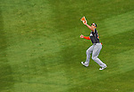 1 April 2013: Miami Marlins outfielder Giancarlo Stanton pulls in a fly ball during the Opening Day Game against the Washington Nationals at Nationals Park in Washington, DC. The Nationals shut out the Marlins 2-0 to launch the 2013 season. Mandatory Credit: Ed Wolfstein Photo *** RAW (NEF) Image File Available ***