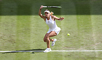 Ana Bogdan (ROU) during her match against Johanna Konta (GBR) in their Ladies' Singles First Round match<br /> <br /> Photographer Rob Newell/CameraSport<br /> <br /> Wimbledon Lawn Tennis Championships - Day 2 - Tuesday 2nd July 2019 -  All England Lawn Tennis and Croquet Club - Wimbledon - London - England<br /> <br /> World Copyright © 2019 CameraSport. All rights reserved. 43 Linden Ave. Countesthorpe. Leicester. England. LE8 5PG - Tel: +44 (0) 116 277 4147 - admin@camerasport.com - www.camerasport.com