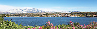 Scenic Panorama of Lake Mission Viejo with Snow on Santiago Peak Mountains